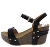 Mara09 Black Open Toe Slingback Ankle Strap Studded Wedge - Wholesale Fashion Shoes