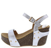 Mara09 Silver Open Toe Slingback Ankle Strap Studded Wedge - Wholesale Fashion Shoes