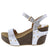 Mara09 Silver Open Toe Slingback Ankle Strap Studded Wedge