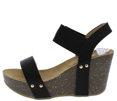 Mara10 Black Open Toe Stretch Ankle Strap Platform Wedge - Wholesale Fashion Shoes