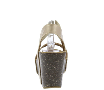 Mara10 Champagne Open Toe Stretch Ankle Strap Platform Wedge - Wholesale Fashion Shoes