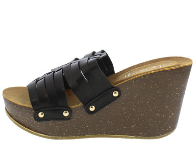 Mara15 Black Woven Studded Slide on Cork Wedge - Wholesale Fashion Shoes