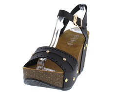 MARA19 BLACK ANKLE STRAP STUDDED CORK PLATFORM WEDGE - Wholesale Fashion Shoes