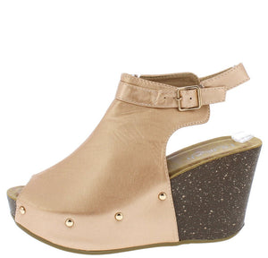 c80d44173 Mara23 Rose Gold Peep Toe Ankle Strap Covered Platform Wedge - Wholesale  Fashion Shoes