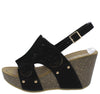 Mara24 Black Cut Out Laser Cut Slingback Platform Wedge - Wholesale Fashion Shoes