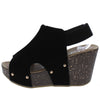 Mara26 Black Peep Toe Slingback Cut Out Platform Wedge - Wholesale Fashion Shoes