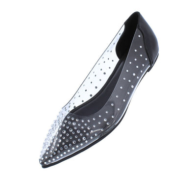 Isabelle211 Black Rhinestone Stud Pointed Toe Lucite Flat - Wholesale Fashion Shoes
