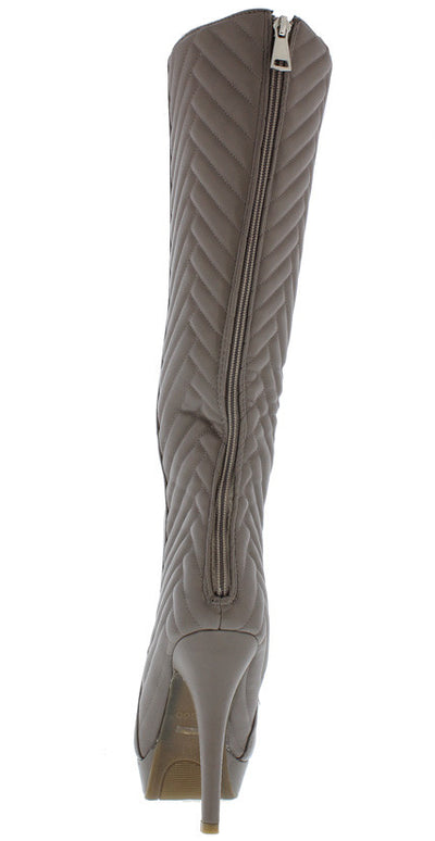 Marcella18 Taupe Geometric Quilted Stitching Platform Heel Boot - Wholesale Fashion Shoes