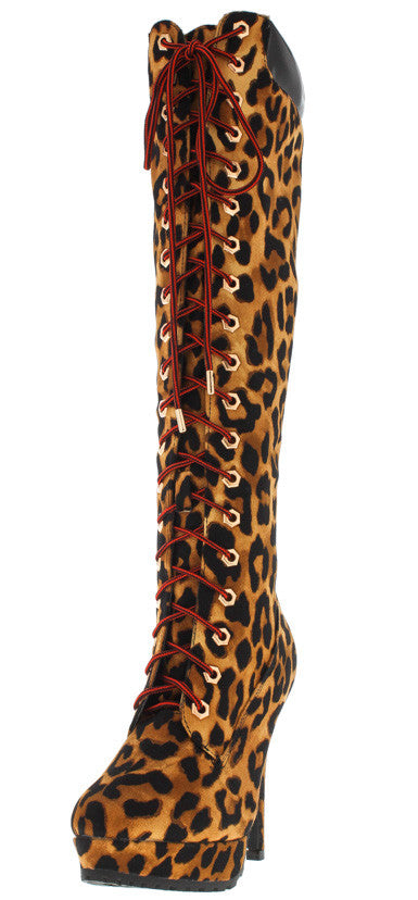 Marcella26 Leopard Lace Up Knee High Boot - Wholesale Fashion Shoes