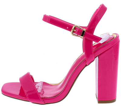 Sophia078 Pink Square Open Toe Slingback Block Heel - Wholesale Fashion Shoes