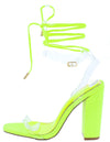 Martha057 Yellow Lucite Open Toe Ankle Wrap Block Heel - Wholesale Fashion Shoes