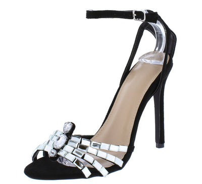Sophia020 Black Rhinestone Strappy Open Toe Stiletto Heel - Wholesale Fashion Shoes