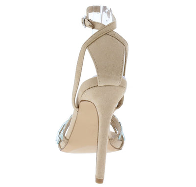 Sophia020 Nude Rhinestone Strappy Open Toe Stiletto Heel - Wholesale Fashion Shoes