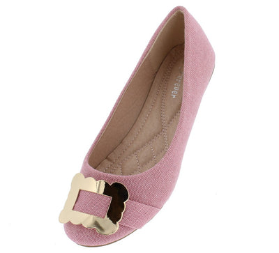 Marina13 Pink Denim Metallic Buckle Ballet Flat - Wholesale Fashion Shoes