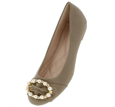 Marina16 Taupe Round Toe Gold Pearl Buckle Ballet Flat - Wholesale Fashion Shoes
