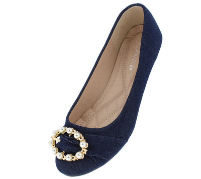 Marina16 Blue Denim Round Toe Gold Pearl Buckle Ballet Flat - Wholesale Fashion Shoes