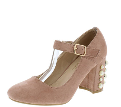 Marita2 Blush Suede Chunky Pearl Studded Mary Jane Heel - Wholesale Fashion Shoes