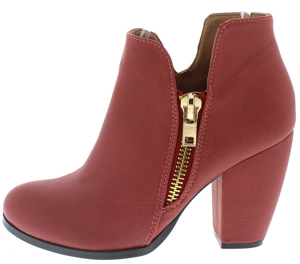 53df4223f2f Aria Red Faux Leather Gold Zipper Boot