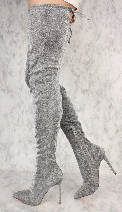 Marlin Silver Thigh High Drawstring Pointed Toe Boot - Wholesale Fashion Shoes