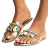 Lucy227 Gold Open Toe Jeweled Strap Lucite Slide Sandal - Wholesale Fashion Shoes