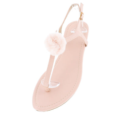 Isaiah096 Blush Fuzzy Pom Pom Thong Ankle Strap Sandal - Wholesale Fashion Shoes