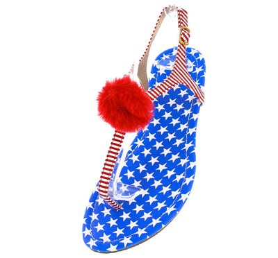 Isaiah096 Flag Fuzzy Pom Pom Thong Ankle Strap Sandal - Wholesale Fashion Shoes