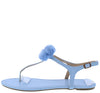 Isaiah096 Baby Blue Fuzzy Pom Pom Thong Ankle Strap Sandal - Wholesale Fashion Shoes