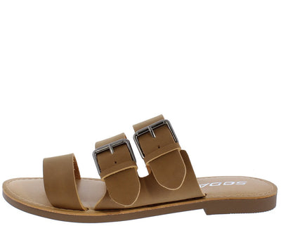 Mascot Tan Tri Band Dual Buckle Mule Slide  Sandal - Wholesale Fashion Shoes