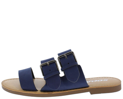 Mascot Navy Tri Band Dual Buckle Mule Slide  Sandal - Wholesale Fashion Shoes