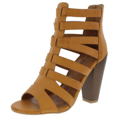 MASH38M TAN DISTRESSED PEEP TOE STRAPPY CAGED ANKLE HEEL - Wholesale Fashion Shoes