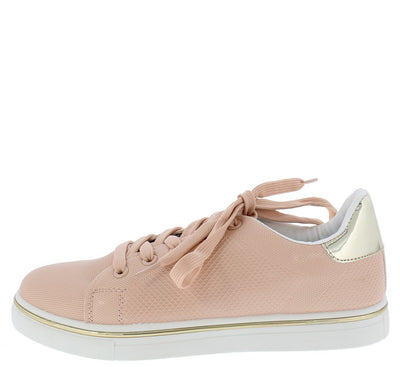 Matthew02 Blush Pu Metallic Detailed Textured Sneaker Flat - Wholesale Fashion Shoes
