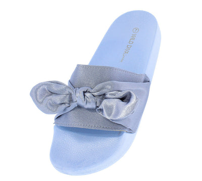 Matty05 Blue Satin Bow Slide on Flat Sandal - Wholesale Fashion Shoes