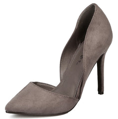 MAVIS32W GREY POINTED TOE STILETTO HEEL - Wholesale Fashion Shoes