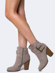KINSEY NUDE DUAL STRAP STACKED CHUNKY HEEL ANKLE BOOT - Wholesale Fashion Shoes - 2