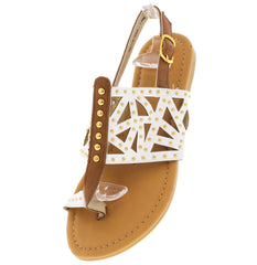 MAX4 WHITE CUT-OUT STUDDED SANDAL - Wholesale Fashion Shoes