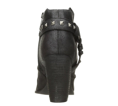 Ruby136 Black Pu Stud Strap Peep Toe Ankle Boot - Wholesale Fashion Shoes