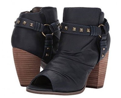 Ruby136 Navy Pu Stud Strap Peep Toe Ankle Boot - Wholesale Fashion Shoes