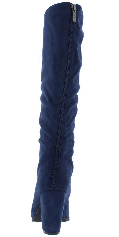 Ava175 Navy Suede Round Toe Lace Up Knee High Boot - Wholesale Fashion Shoes