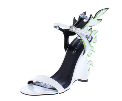 Megan White Open Toe Ankle Strap Flame Accent Heel - Wholesale Fashion Shoes