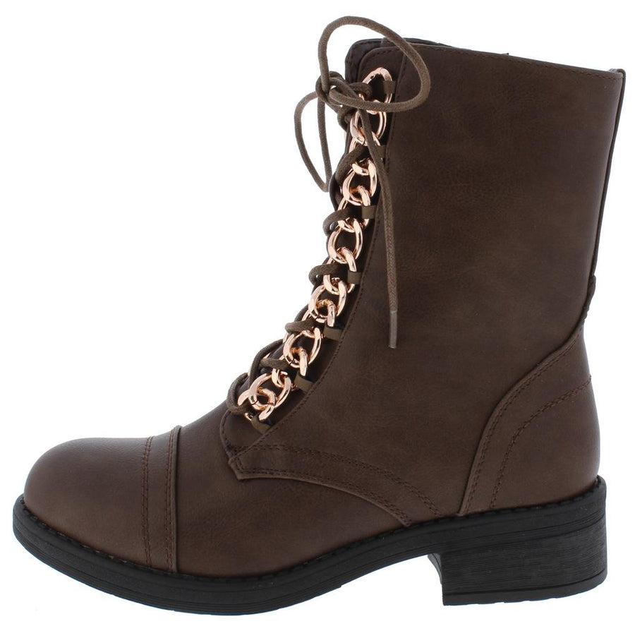 3e0e31393da743 Megan07 Brown Chain Lace Up Chunky Heel Boot - Wholesale Fashion Shoes