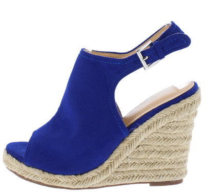 Luna232 Blue Peep Toe Slingback Braided Platform Wedge - Wholesale Fashion Shoes