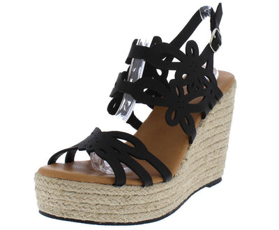Melie8 Black Laser Cut Open Toe Slingback Espadrille Wedge - Wholesale Fashion Shoes