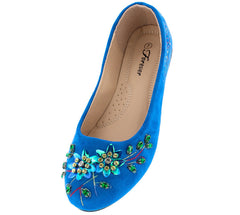 MELLY11 BLUE EMBROIDERED SEQUIN ROUND TOE SLIDE ON FLAT - Wholesale Fashion Shoes