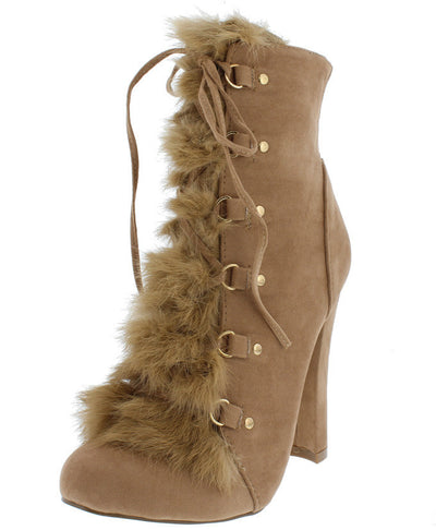 Merida Taupe Suede Fuzzy Lace Up Boot - Wholesale Fashion Shoes