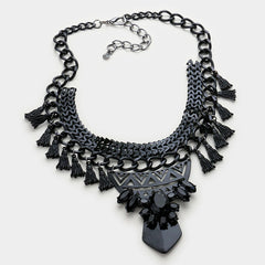 METAL BLACK TASSEL CLUSTER NECKLACE AND EARRING SET - Wholesale Fashion Shoes - 2