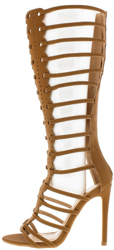 Mia1 Camel  Front Panel Design Gladiator Boot - Wholesale Fashion Shoes