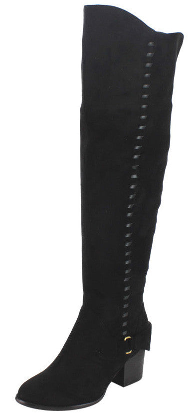 Mia32 Black Interwoven Single Strap Knee High Boot - Wholesale Fashion Shoes