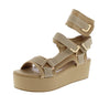 Mia Nude Caged Wrap Strap Open Toe Platform Wedge - Wholesale Fashion Shoes