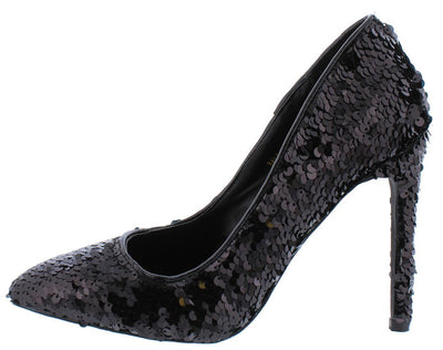 Luna171 Black Sequin Pointed Toe Stiletto Heel - Wholesale Fashion Shoes