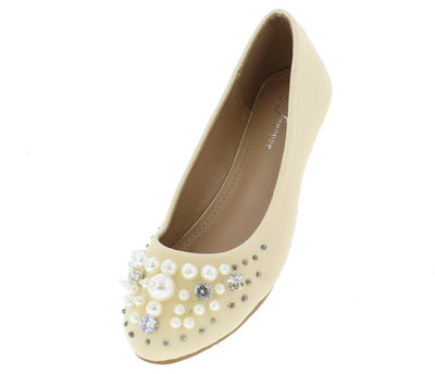 Mika33 Beige Pearl Rhinestone Studded Round Toe Flat - Wholesale Fashion Shoes